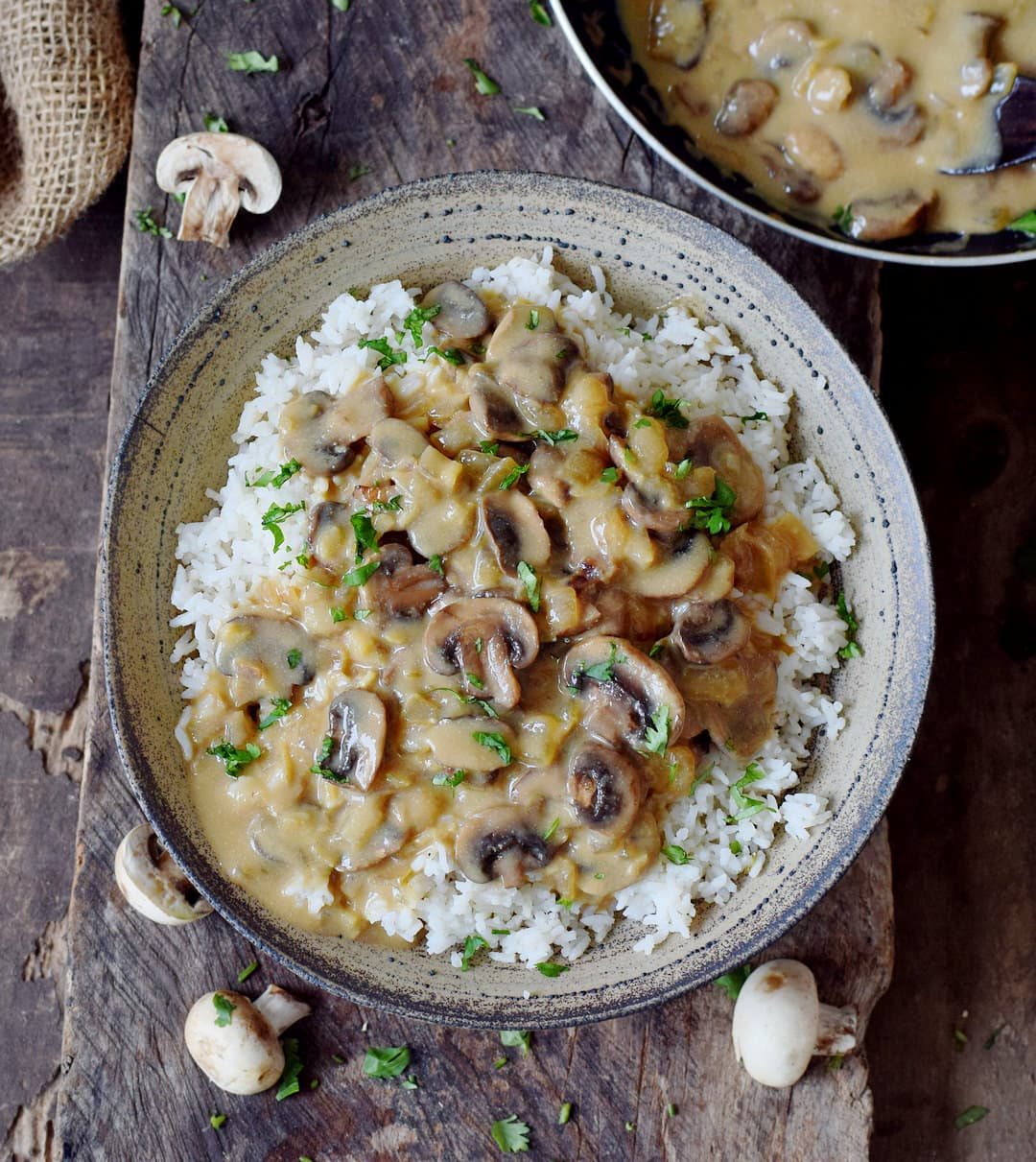 vegan mushroom stroganoff with rice on a plate