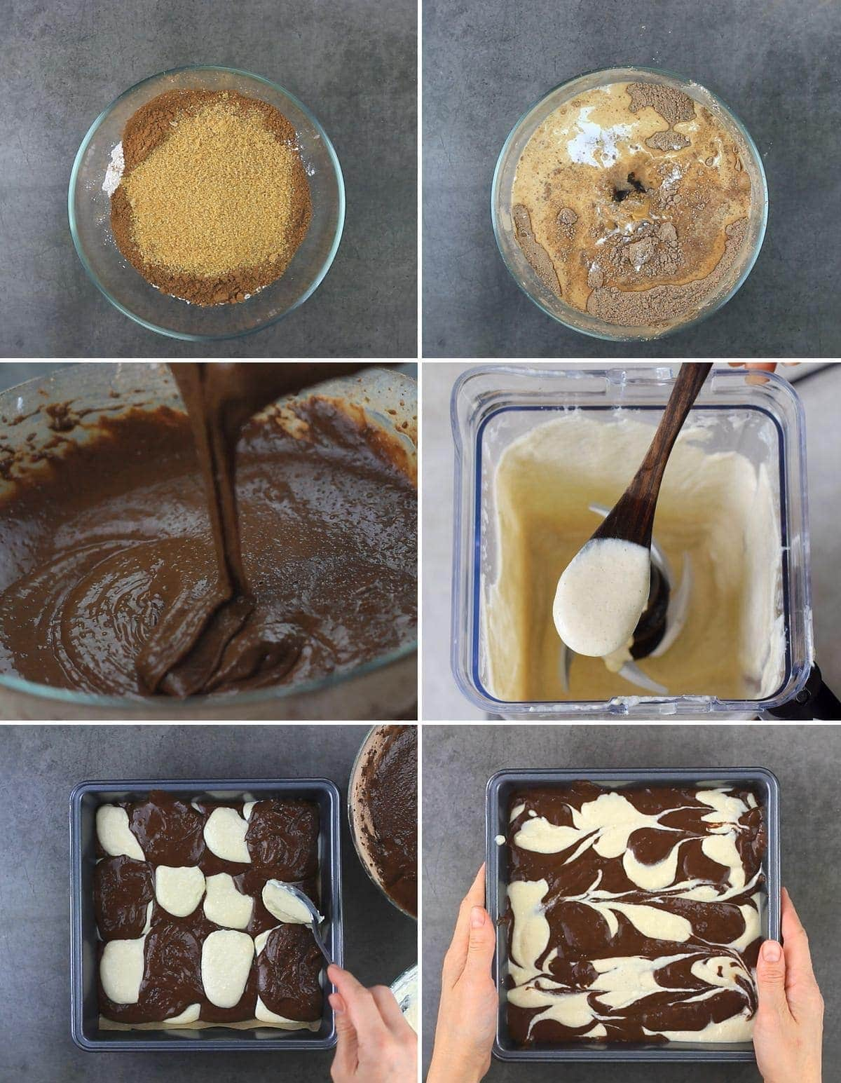 6 process shots how to make cheesecake brownies