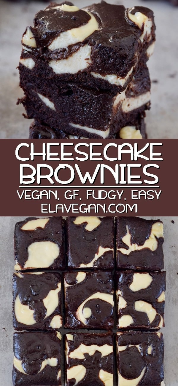 Pinterest collage of cheesecake brownies