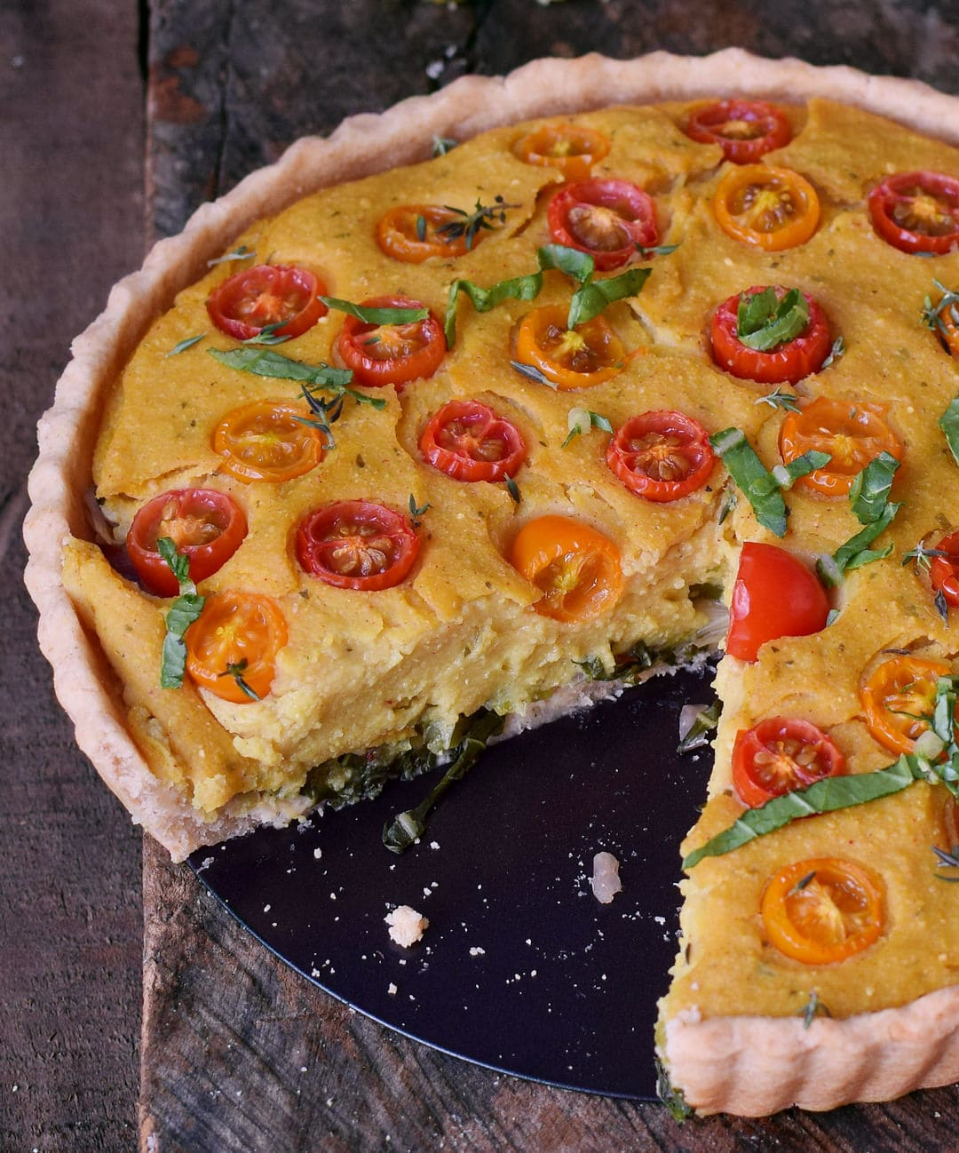 close-up soy free quiche with cherry tomatoes