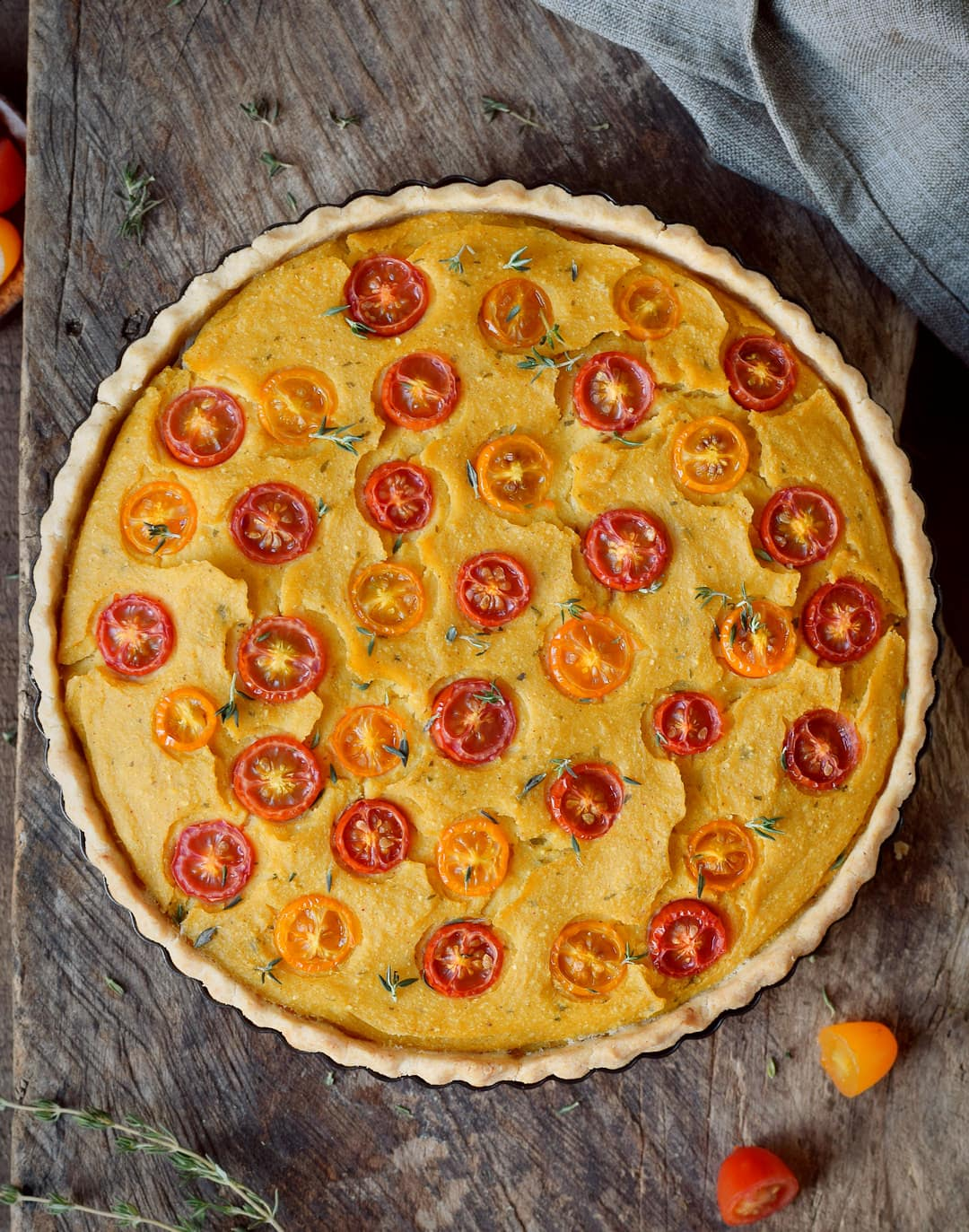 baked veggie quiche with cherry tomatoes