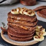 Caramel chocolate pancakes with banana slices vegan recipe
