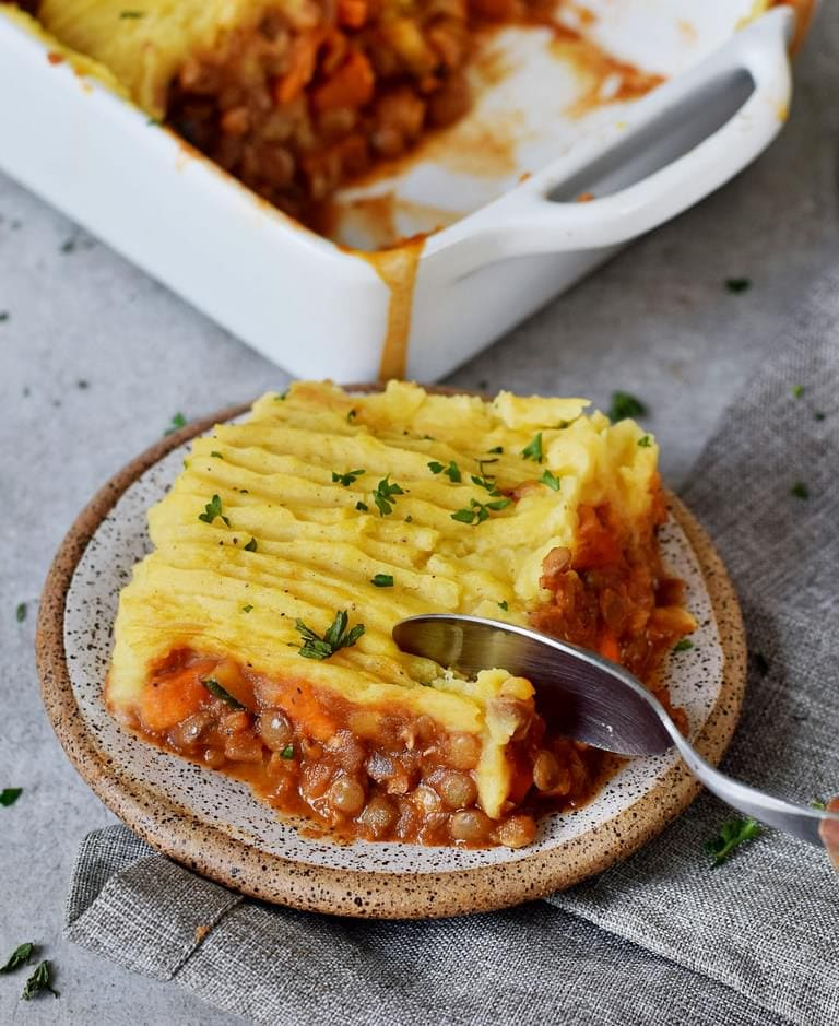 Gluten-free vegan Shepherds pie piece on a small plate