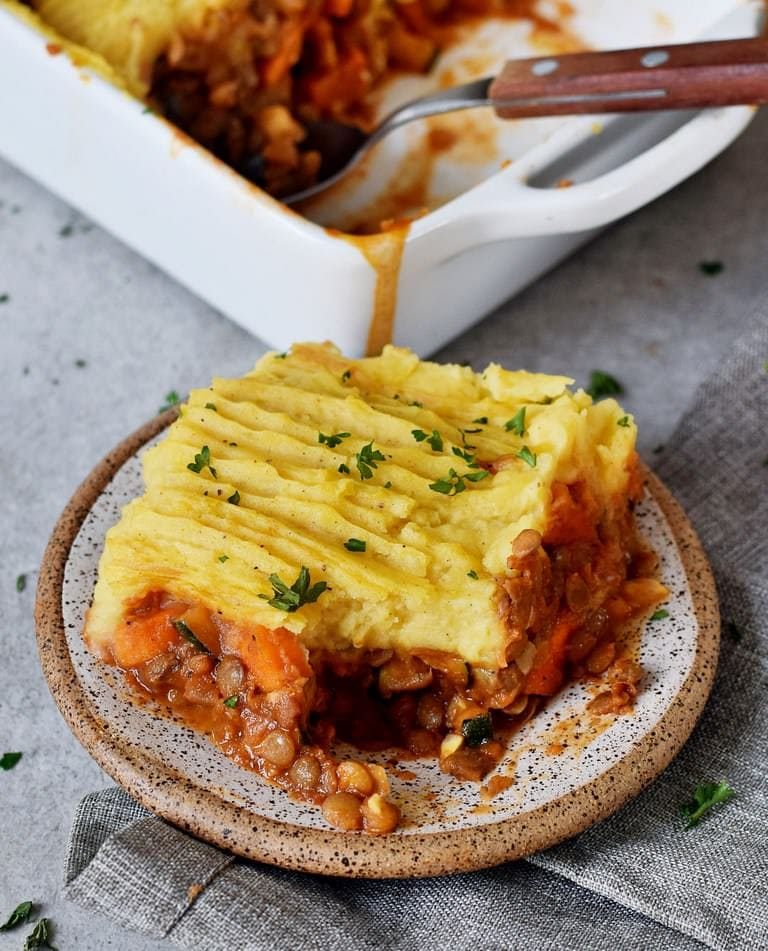 Healthy vegan Shepherds pie piece on a small plate