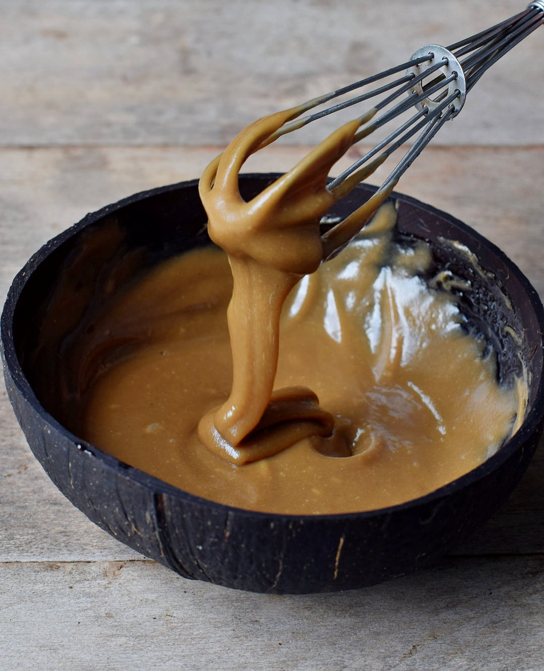 Homemade caramel for caramel chocolate pancakes