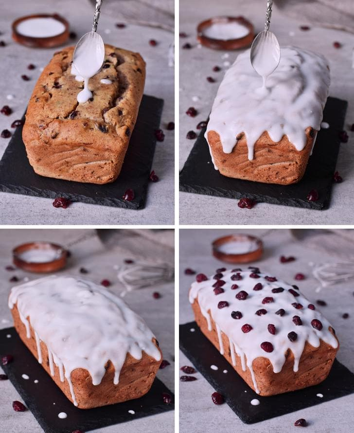 Step by step photos of decorating healthy vegan Loaf with a sugar-free frosting and dried cranberries
