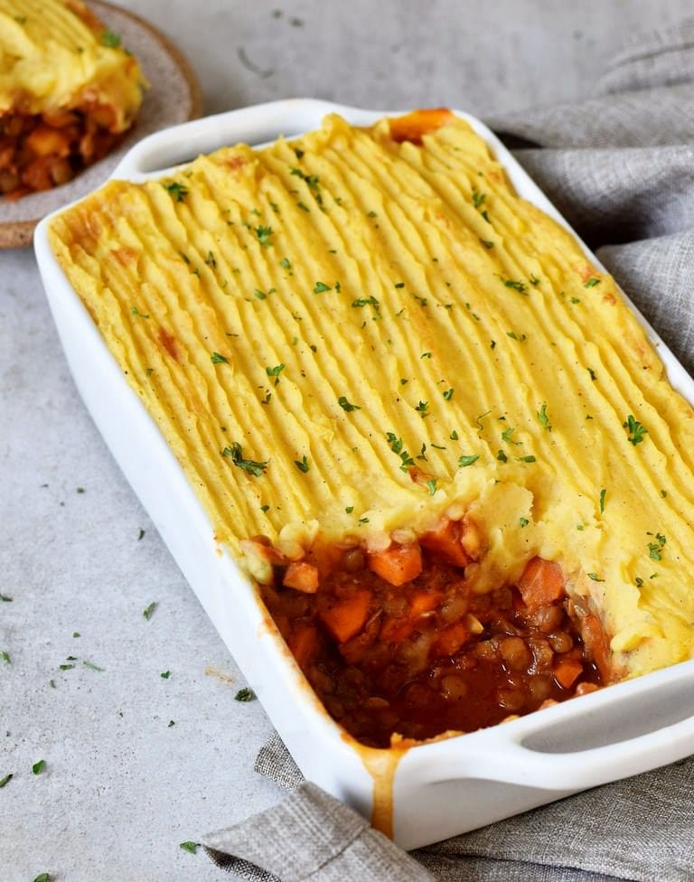Vegan Shepherds pie in a white baking dish