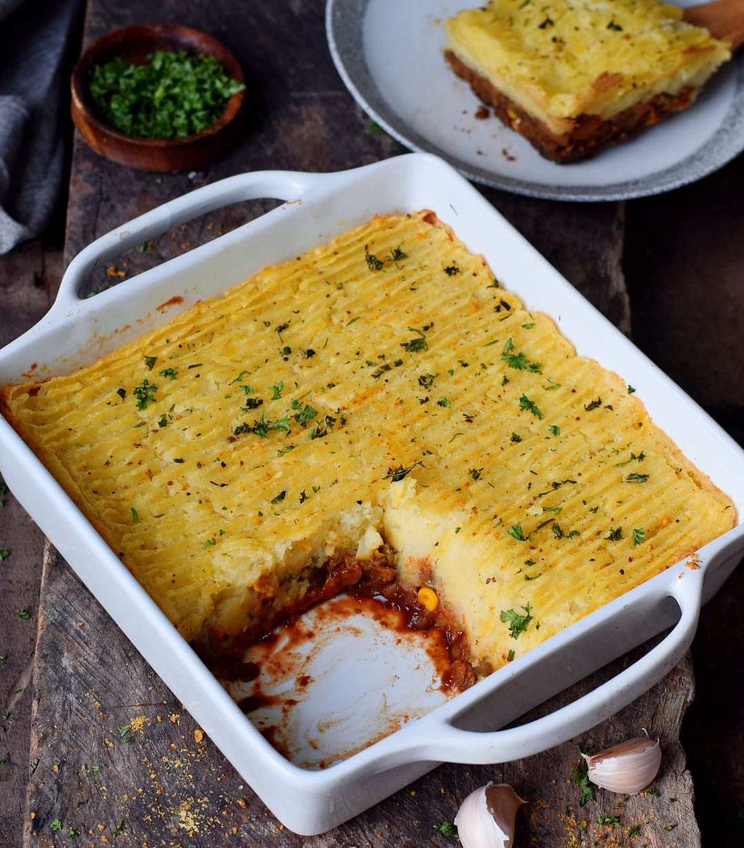 gluten-free vegan shepherds pie in a baking dish