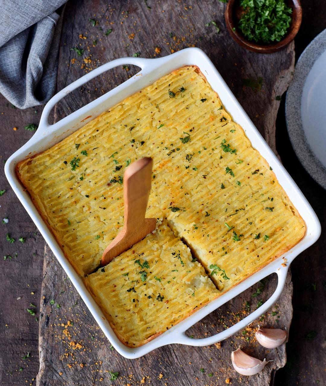 healthy vegan shepherds pie in a baking dish