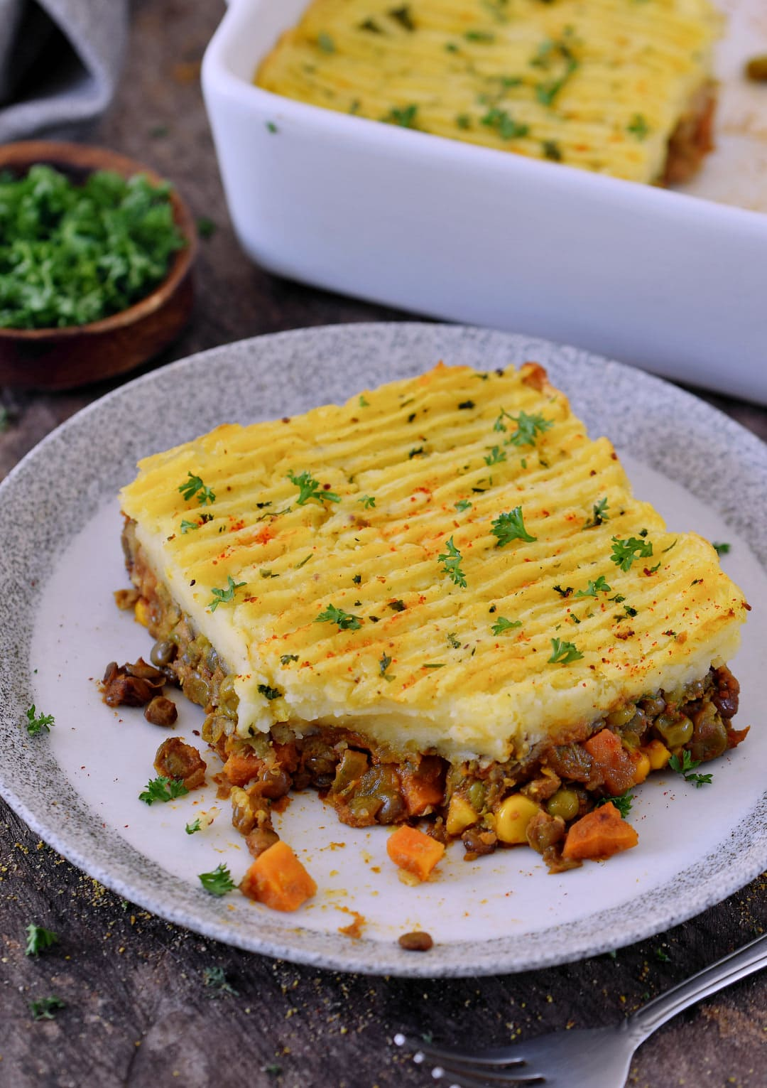 healthy vegan shepherds pie on a plate