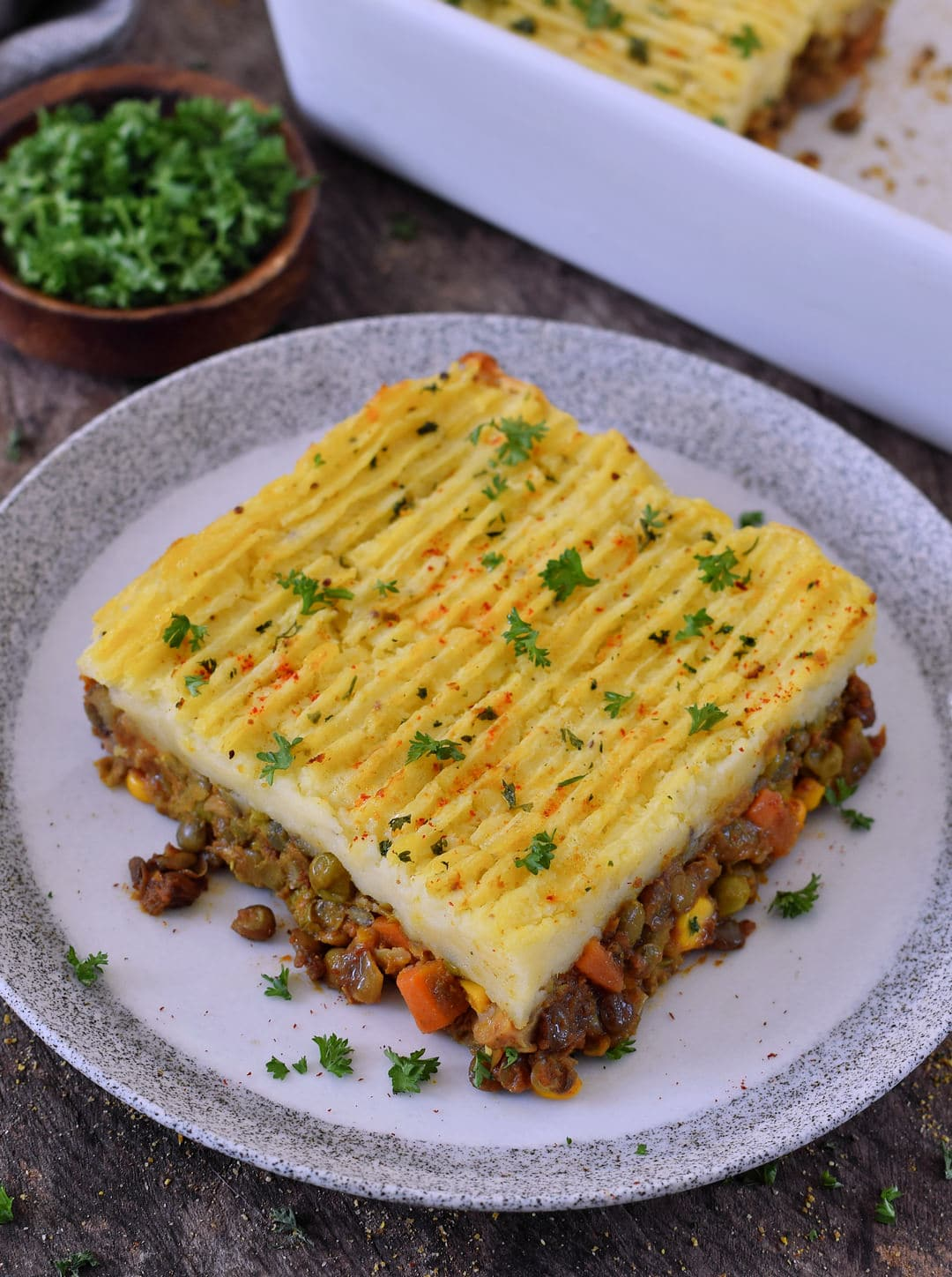 piece of a vegan shepherds pie on a plate