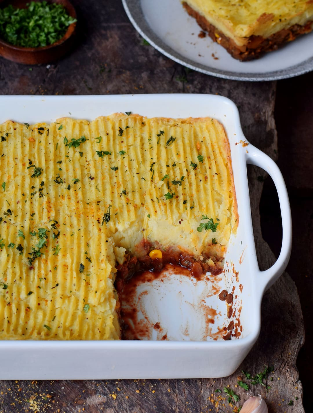 vegan shepherds pie with lentils in a baking dish