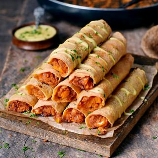 Gluten-free Buffalo chickpea taquitos with vegan cheese drizzle 320x320