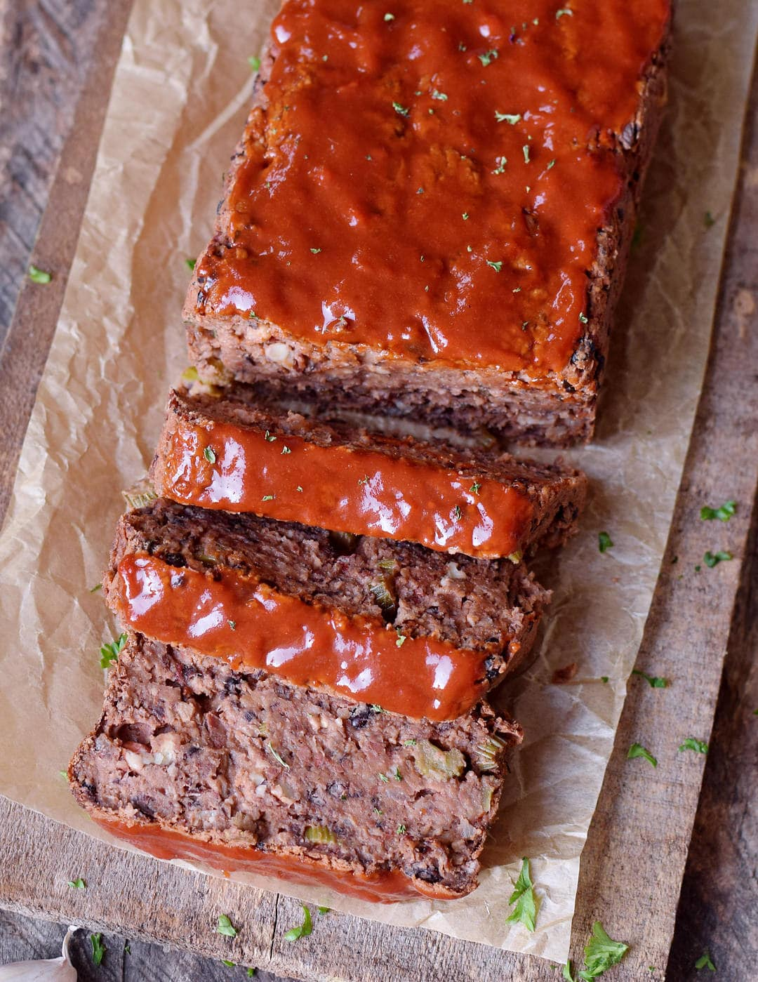 Vegan meatloaf with on parchment paper from above