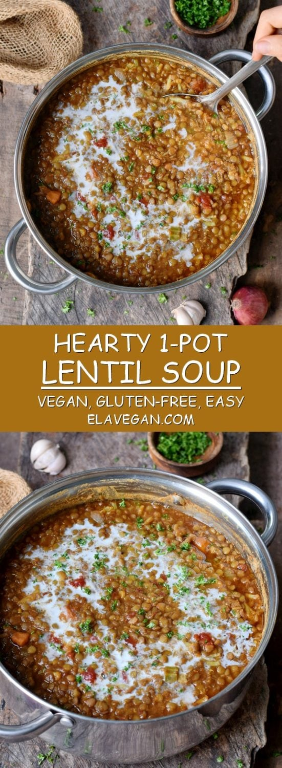 best lentil soup with coconut milk in a large pot vegan gluten-free recipe pinterest collage