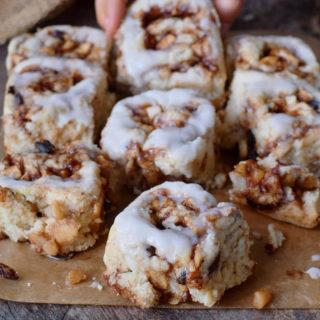 eating vegan apple cinnamon rolls