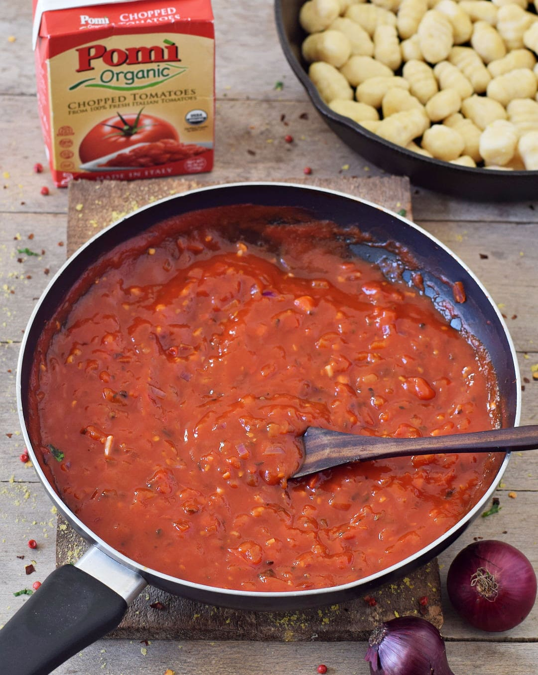 gnocchi all'arrabbiata sauce made with pomi chopped tomatoes