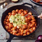 healthy gnocchi all'arrabbiata recipe homemade vegan gluten-free sauce in a skillet