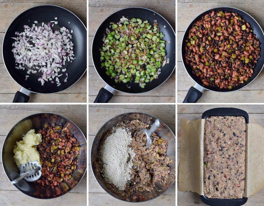 steps of how to make vegan meatloaf