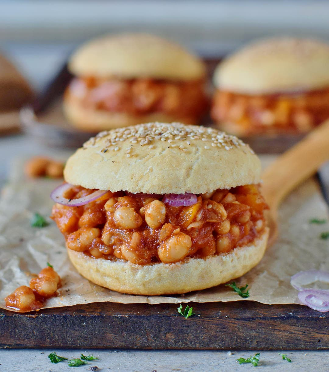 healthy vegan sloppy joes recipe with gluten-free burger buns