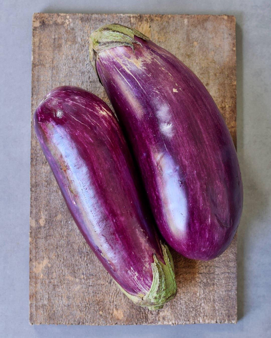 two eggplants for vegan moussaka