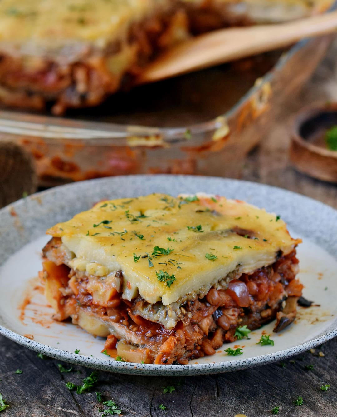 vegan moussaka on a plate