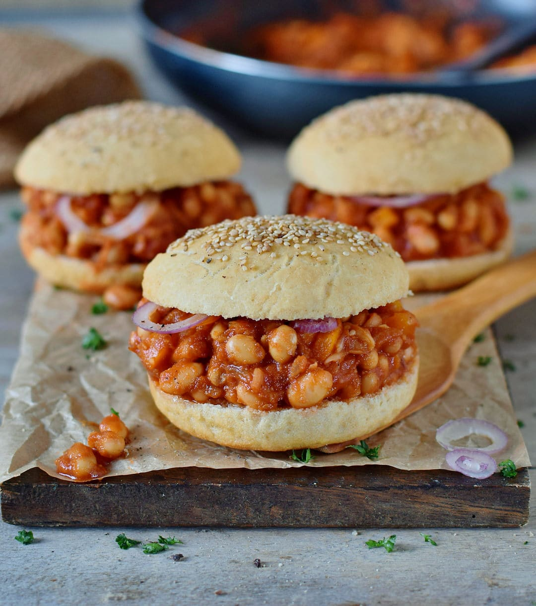vegan sloppy joes with soft gluten-free burger buns