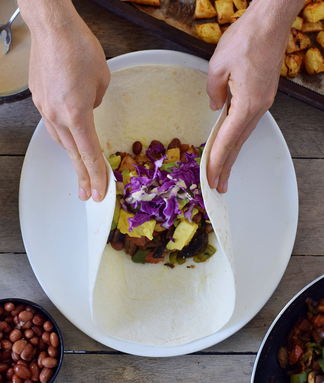 wrap a vegan breakfast burrito