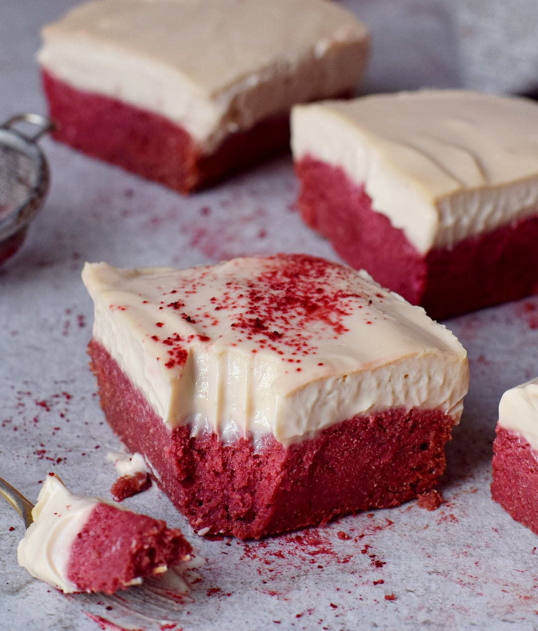 Easy to make healthy red velvet bars with cashew cream gluten-free recipe