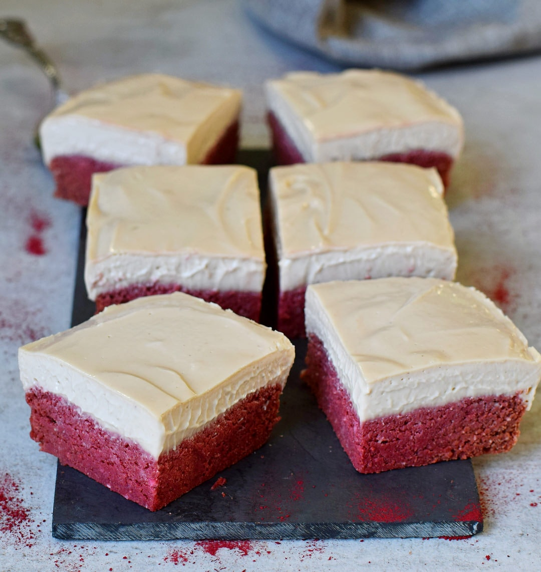 Vegan red velvet bars with cashew cream gluten-free recipe