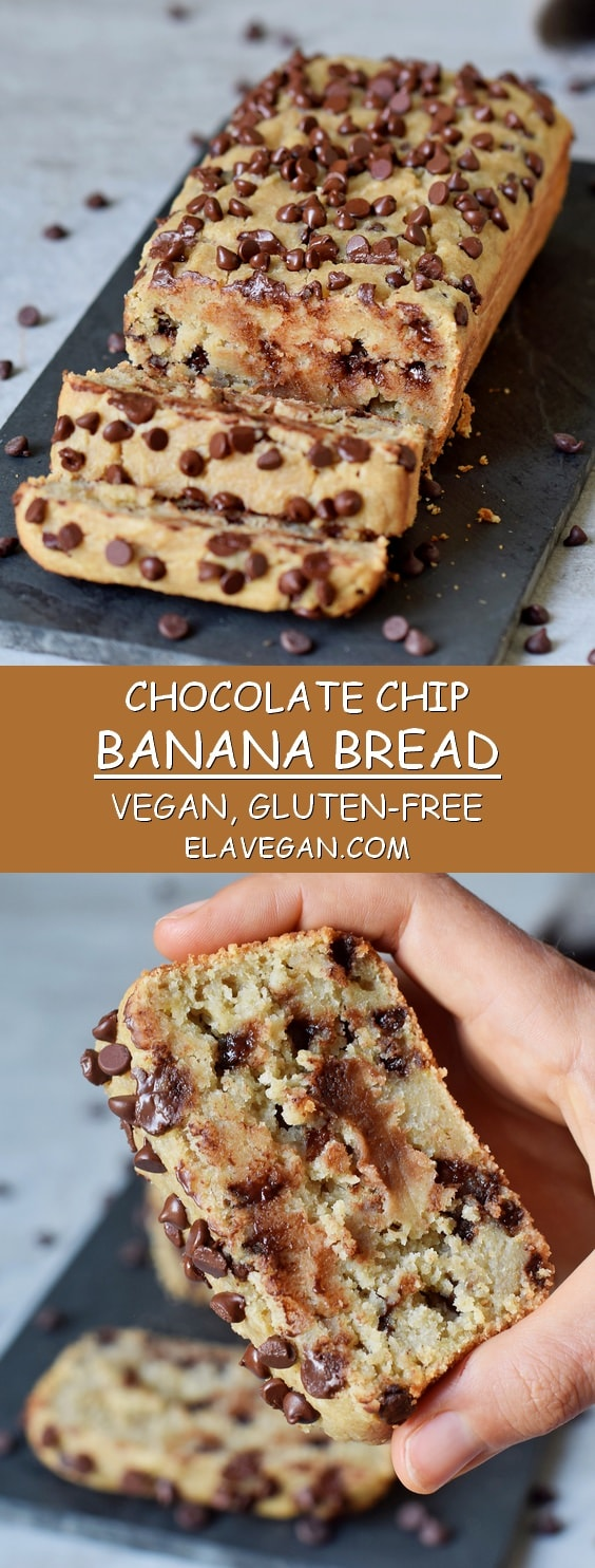 healthy gluten-free vegan chocolate chip banana bread recipe pinterest