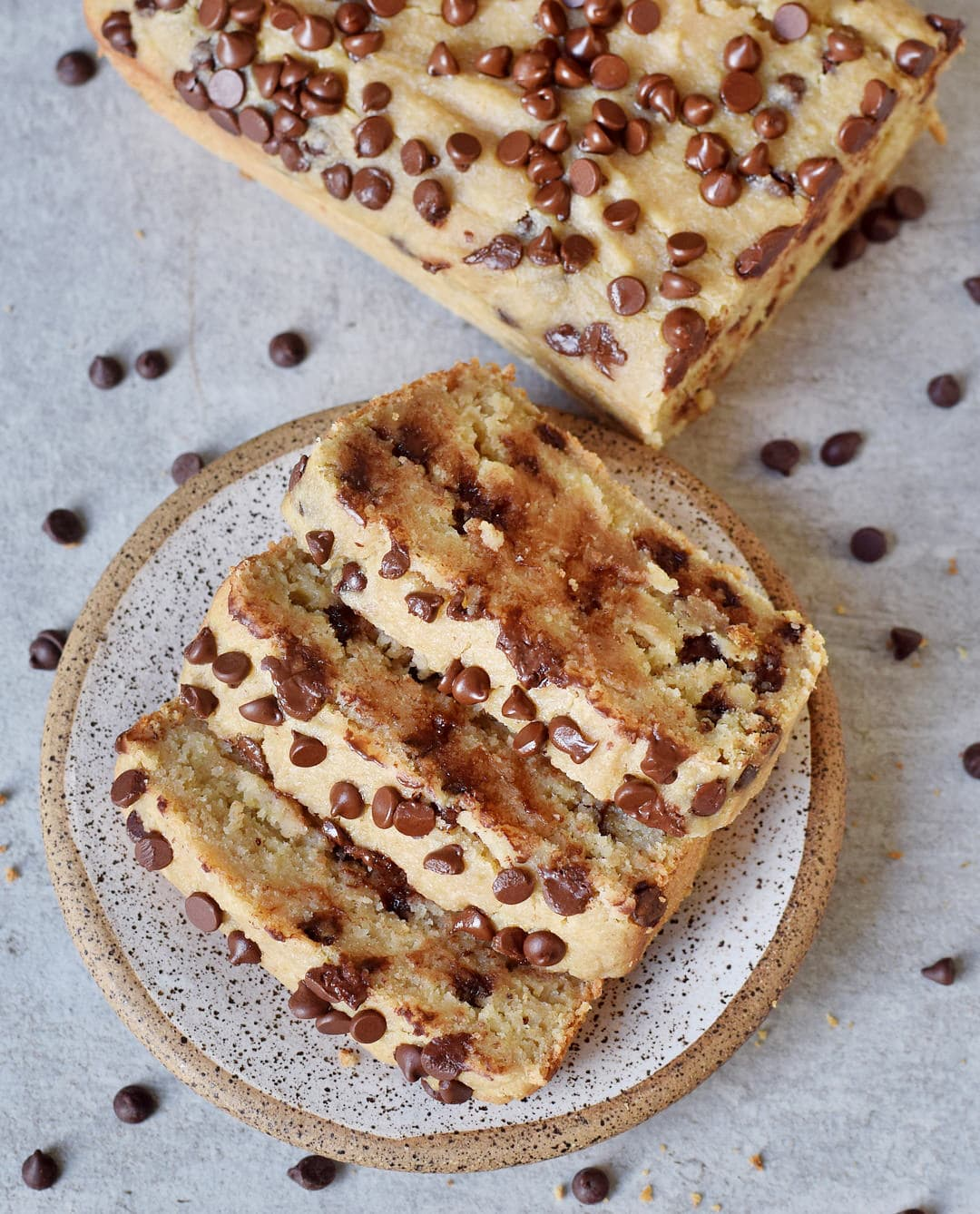vegan chocolate chip banana bread on a plate