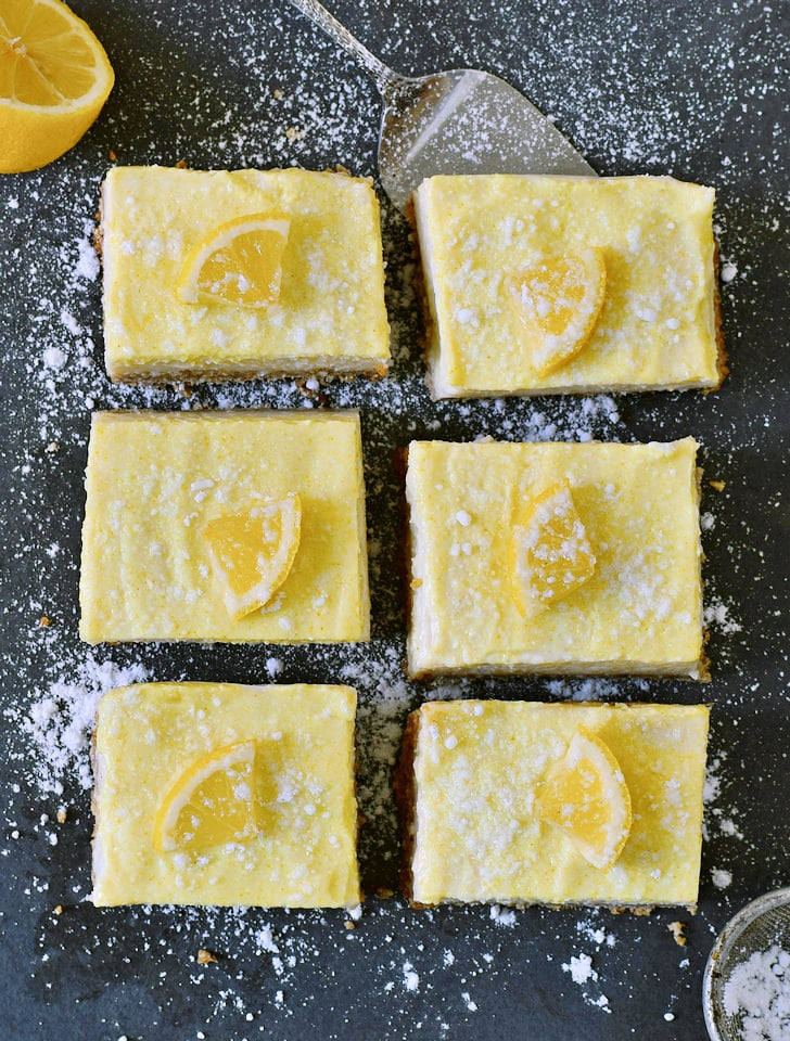 vegan lemon bars recipe with lemon slices from above