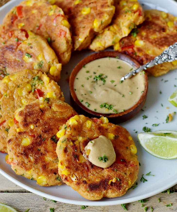 vegan veggie fritters with corn and pepper gluten-free recipe