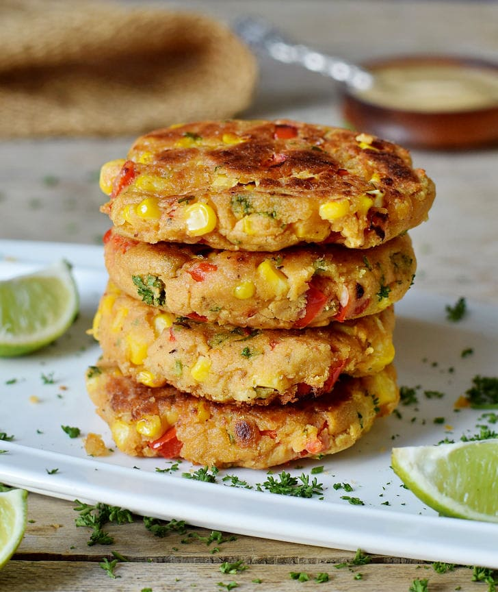 vegan corn patties with bell pepper and chickpeas