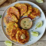 vegan veggie fritters with corn pepper gluten-free recipe on a plate 150x150