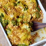 cooked quinoa bake in a white pan