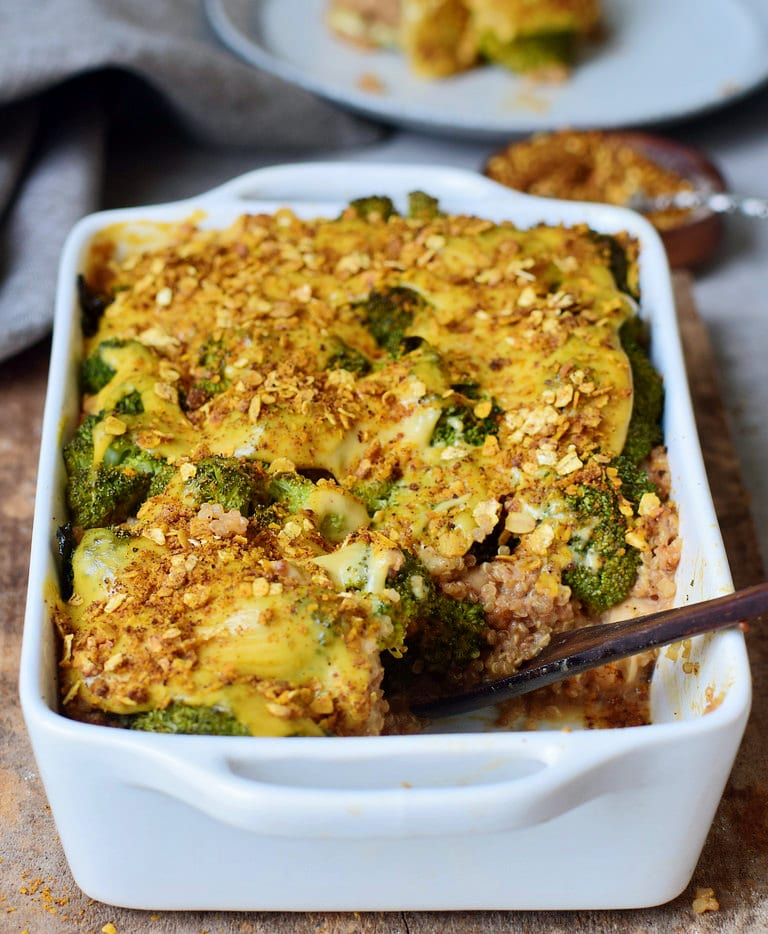 easy broccoli casserole recipe with quinoa and vegan cheese
