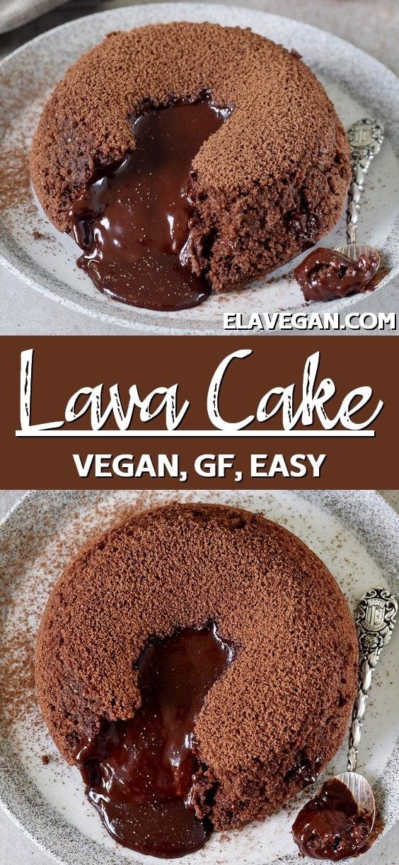 Pinterest collage vegan lava cake