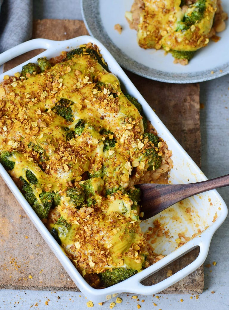 vegan broccoli cheddar casserole with quinoa