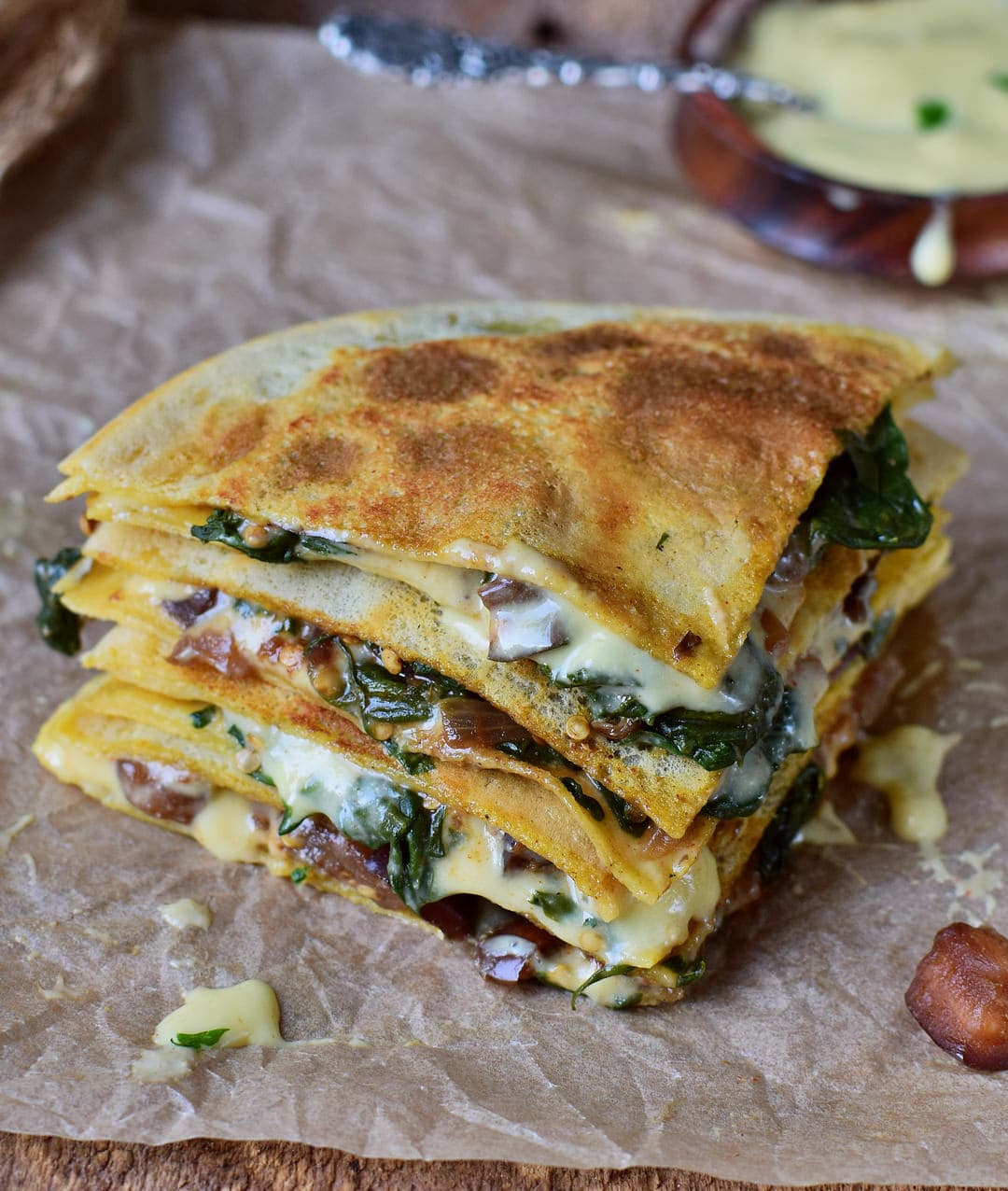 vegan spinach quesadillas with eggplant and gluten free tortillas