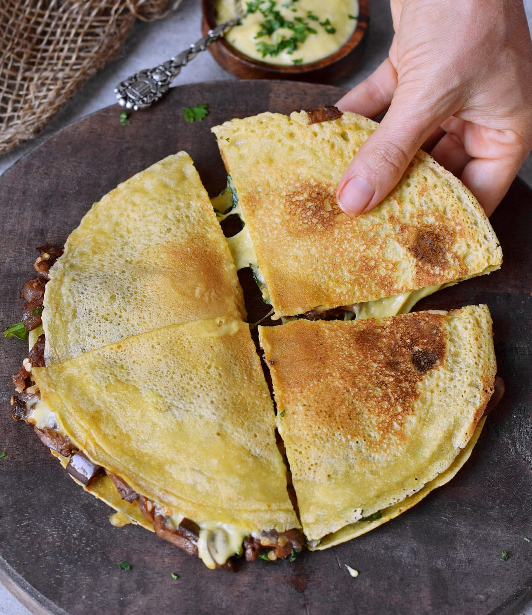 plant-based spinach quesadillas