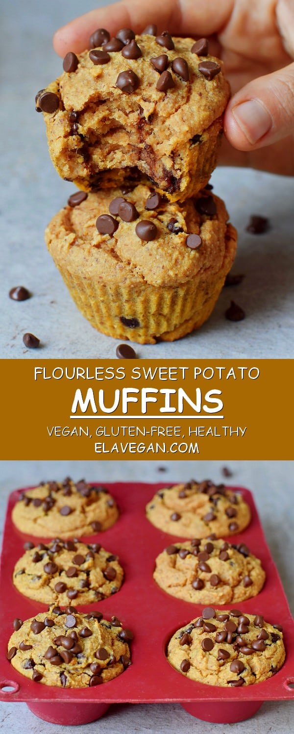 Flourless chocolate chip sweet potato muffins vegan gluten-free recipe