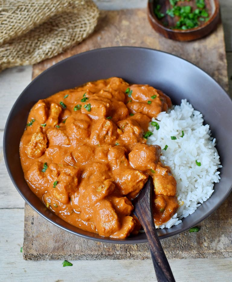 Instant Pot Vegan Butter Chicken (Tikka Masala) recipe with rice