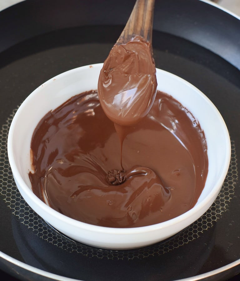 dairy-free melted chocolate in a water bath