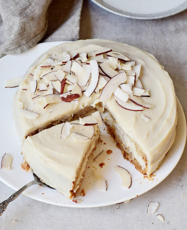 Coconut cake with vegan sweet potato frosting without oil