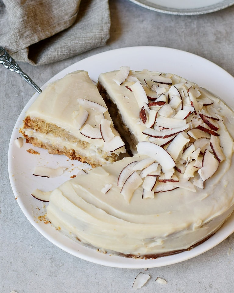 Coconut cream cake with dairy-free frosting