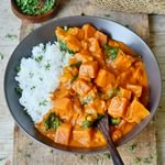 Creamy Sweet Potato Coconut Curry with rice and healthy spinach