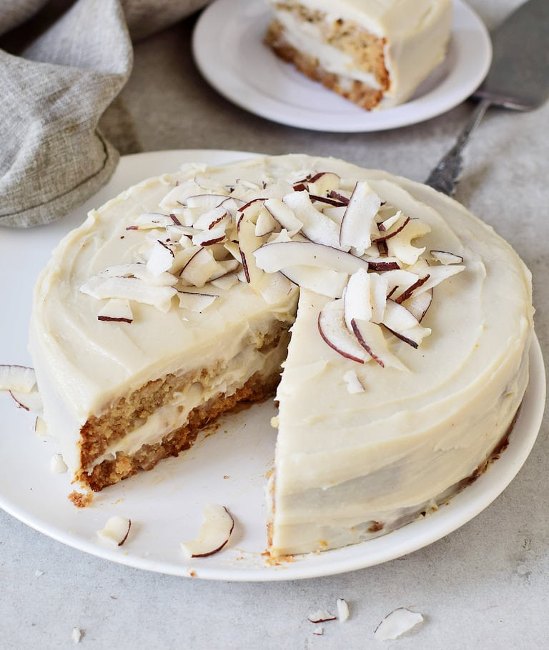Gluten-free vegan coconut cream cake with frosting without oil