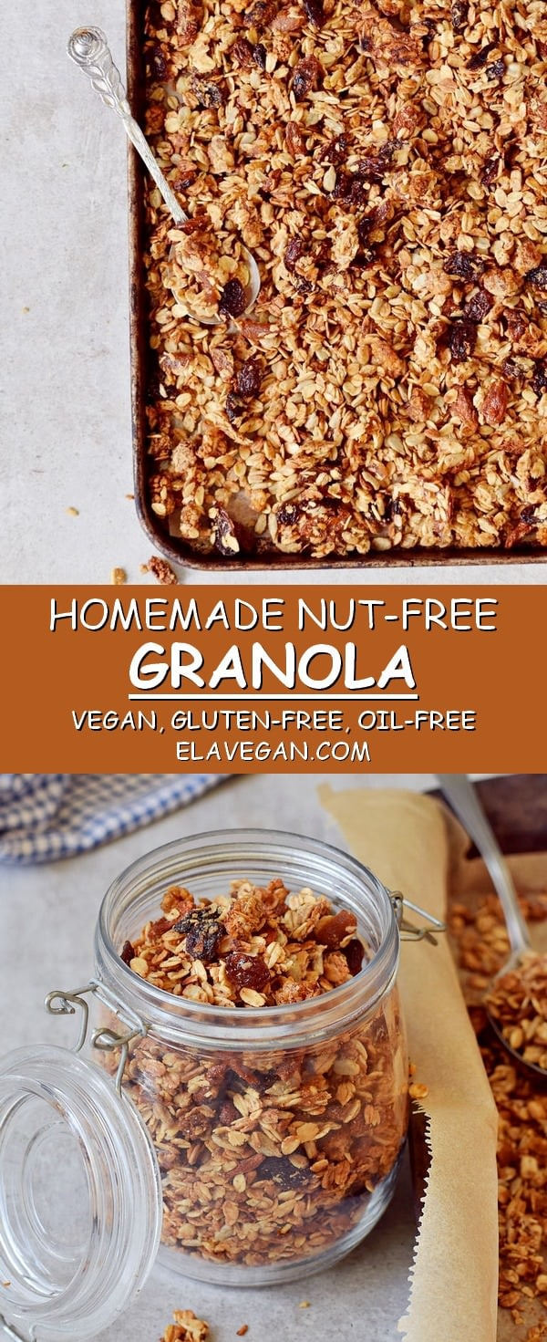 Homemade nut-free granola vegan gluten-free oil-free recipe